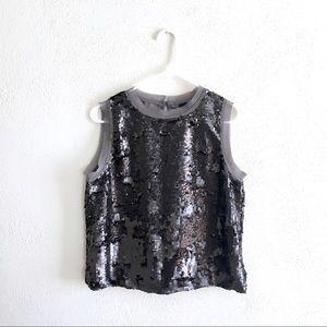metallic sequin tank top sheer chiffon trim blouse